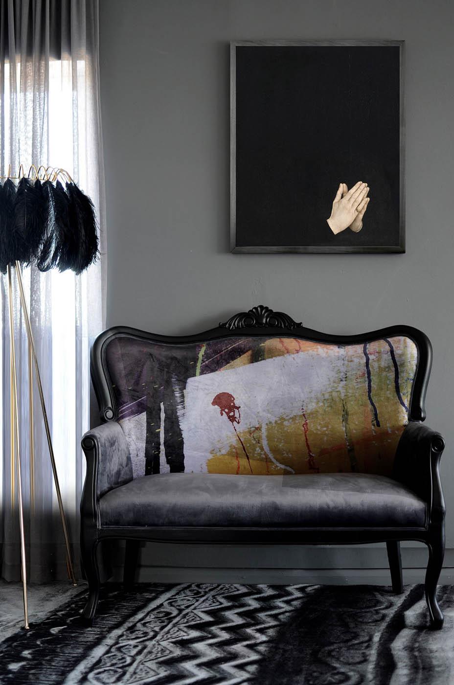 grey-velvet-sofa-with-graffiti-graphic