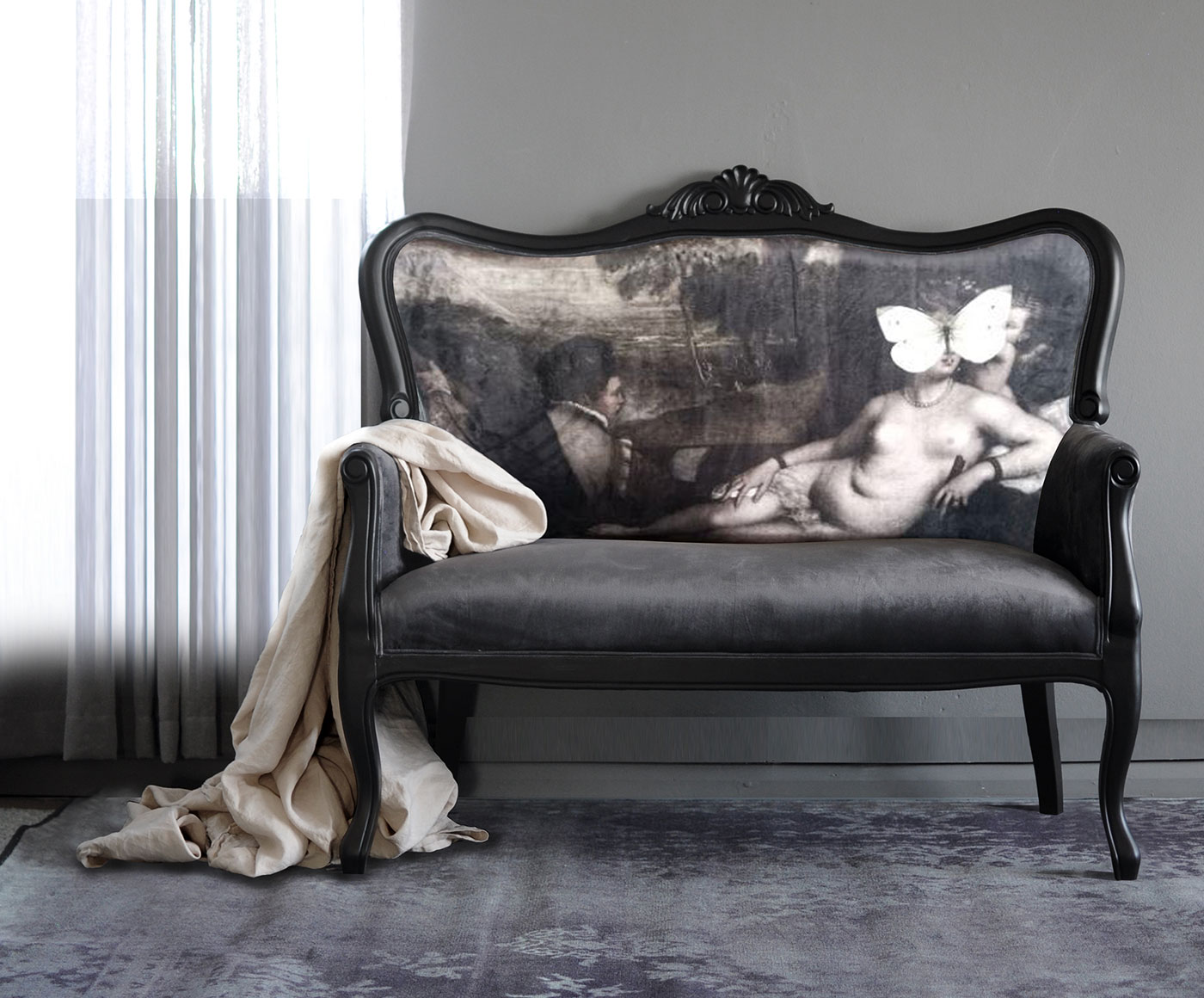 grey-velvet-sofa-with-white-butterfly-on-nude